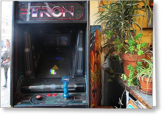Tron Arcade Machine - Enhanced Color Greeting Card by David Lovins