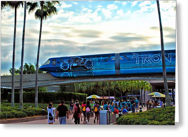 Tron Photographs Greeting Cards - Tron Monorail At Walt Disney World Greeting Card by Thomas Woolworth