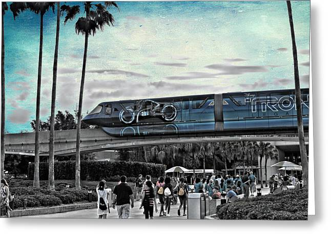 Tron Greeting Cards - Tron Monorail Disney World in SC Textured Sky Greeting Card by Thomas Woolworth