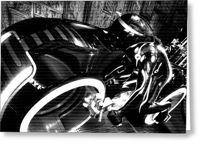Tron Motor Cycle Greeting Card by Michael Hope
