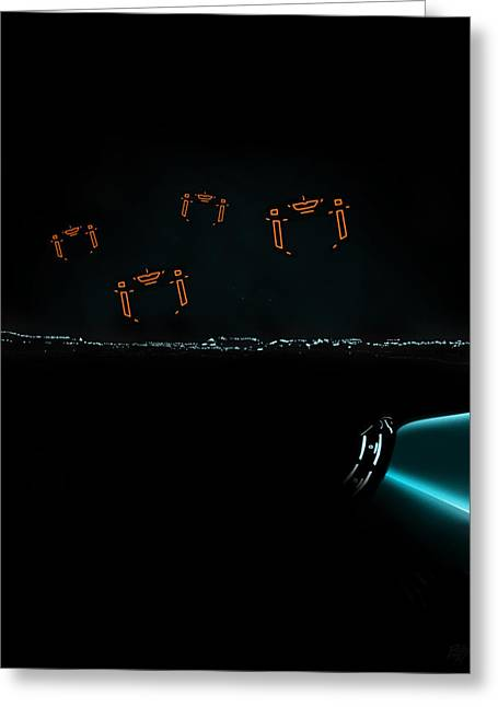 Tron Greeting Cards - Tron Recognizer Greeting Card by Edwin Urena