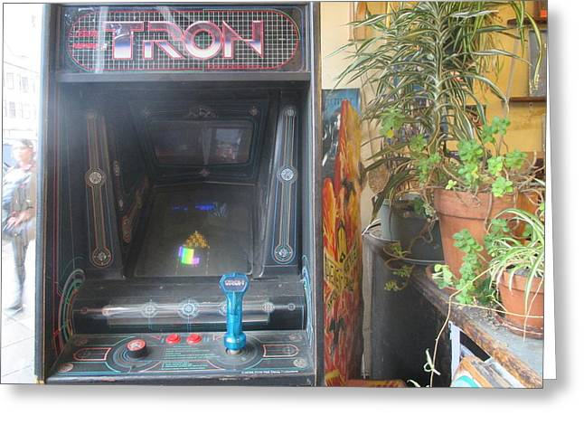 Tron Photographs Greeting Cards - Tron - stand-up video game Greeting Card by David Lovins