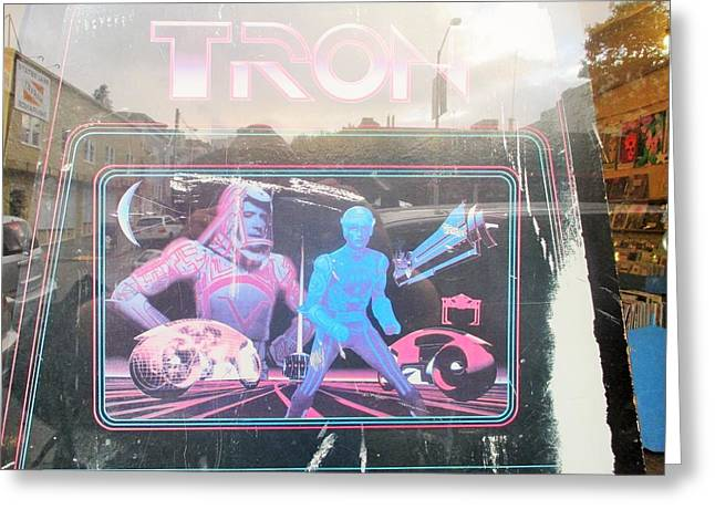 Tron Greeting Cards - Tron Video Game - side cabinet view Greeting Card by David Lovins
