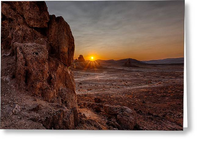 Tufa Greeting Cards - Trona Sunset Greeting Card by Peter Tellone
