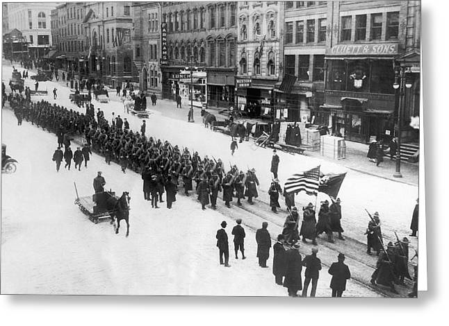 Wwi Greeting Cards - Troops Marching In Manhattan Greeting Card by Underwood Archives