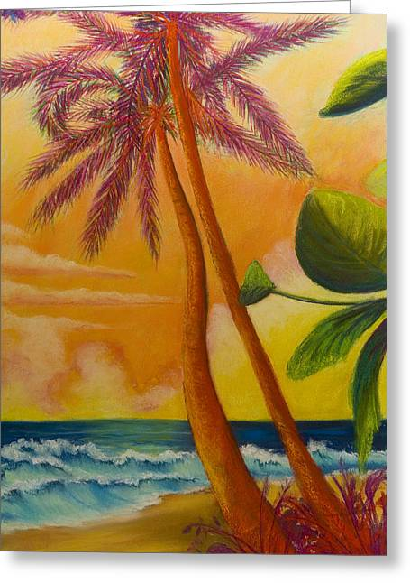 Tropical Oceans Pastels Greeting Cards - Tropic Fire Greeting Card by Brenda Salamone