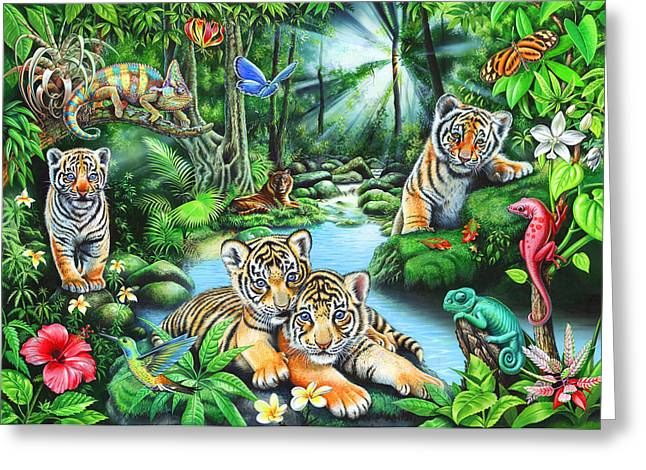Playroom Greeting Cards - Tropic Jungle Greeting Card by Mark Gregory