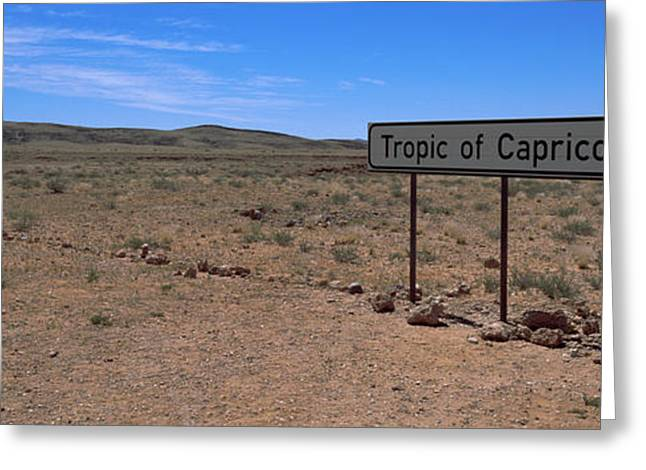 Script Greeting Cards - Tropic Of Capricorn Sign In A Desert Greeting Card by Panoramic Images