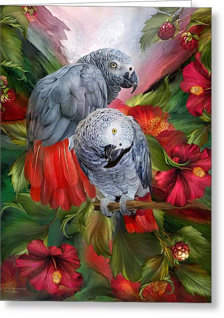 Tropical Bird Art Greeting Cards - Tropic Spirits - African Greys Greeting Card by Carol Cavalaris