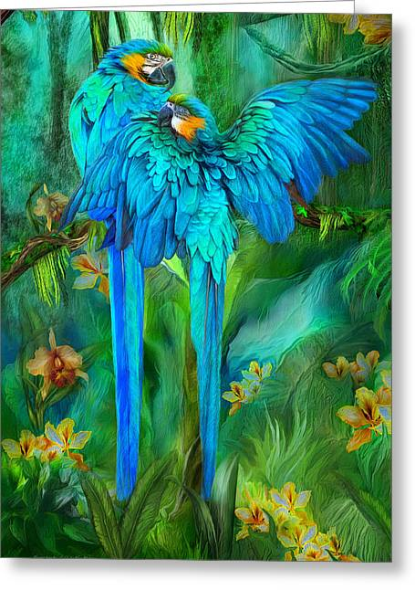 Blue Macaws Greeting Cards - Tropic Spirits - Gold and Blue Macaws Greeting Card by Carol Cavalaris