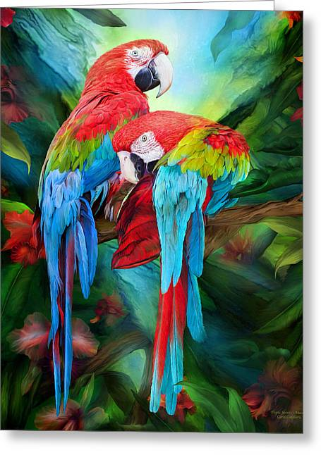 Parrot Art Print Greeting Cards - Tropic Spirits - Macaws Greeting Card by Carol Cavalaris