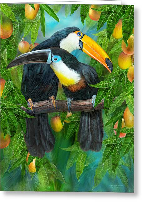 Tropical Bird Art Greeting Cards - Tropic Spirits - Toucans Greeting Card by Carol Cavalaris