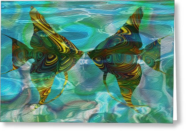 Sea Life Digital Art Greeting Cards - Tropical Angel 2 Greeting Card by Jack Zulli