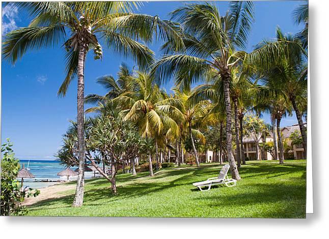 Rainbow Umbrella Greeting Cards - Tropical Beach I. Mauritius Greeting Card by Jenny Rainbow