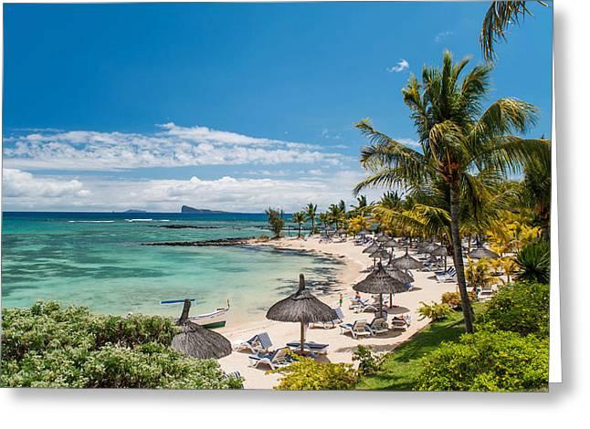 Rainbow Umbrella Greeting Cards - Tropical Beach II. Mauritius Greeting Card by Jenny Rainbow