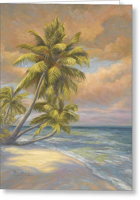 Tropical Beach Greeting Card by Lucie Bilodeau