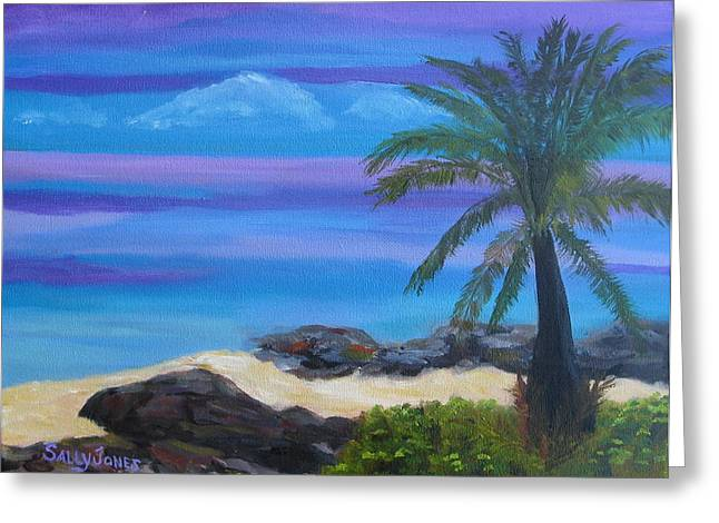 Blue And Purple Sea Greeting Cards - Tropical Beach Greeting Card by Sally Jones