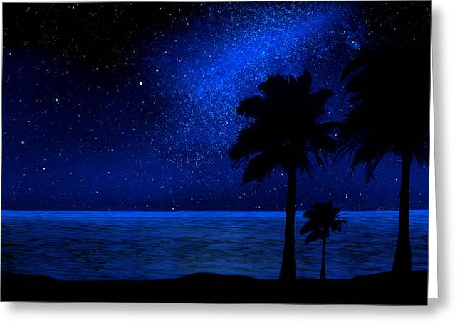 Glow In The Dark Greeting Cards - Tropical Beach Wall Mural Greeting Card by Frank Wilson