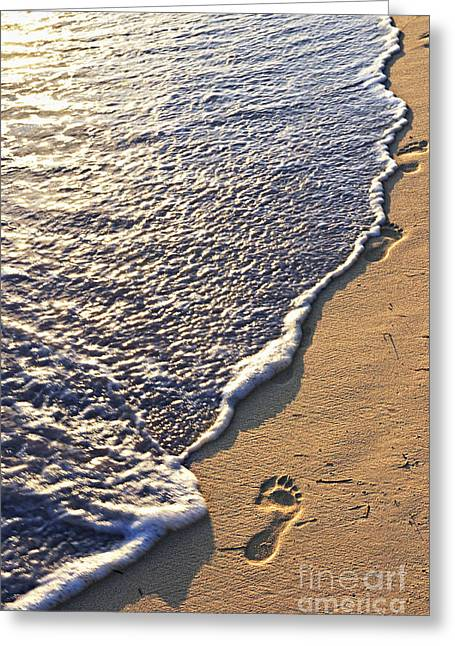 Foot-step Greeting Cards - Tropical beach with footprints Greeting Card by Elena Elisseeva