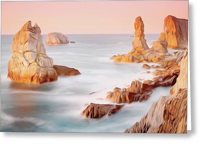 Tourism Greeting Cards - Tropical beach with rocks 2 Greeting Card by Lanjee Chee
