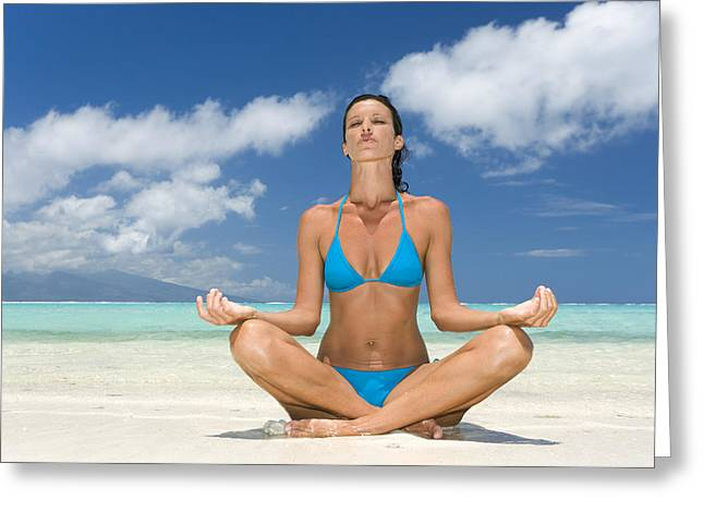 Crosslegged Greeting Cards - Tropical Beach Yoga Greeting Card by M Swiet Productions