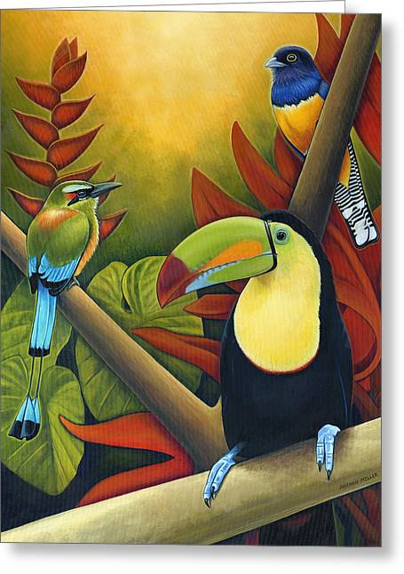 Tropical Birds Greeting Card by Nathan Miller