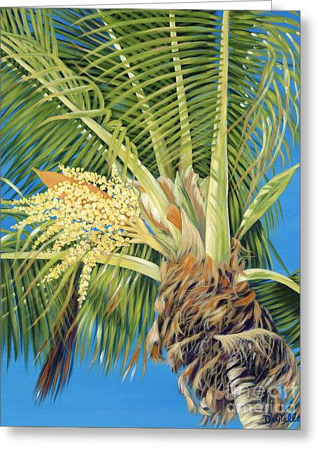 Danielle Perry Paintings Greeting Cards - Tropical Bloom Greeting Card by Danielle  Perry