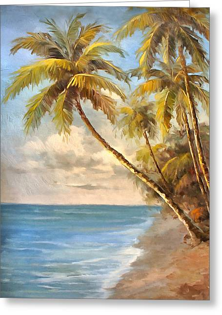 Tropical Island Greeting Cards - Tropical Coastline Greeting Card by Studio Artist
