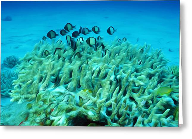 Sealive Paintings Greeting Cards - Tropical coral reef  2 Greeting Card by Lanjee Chee