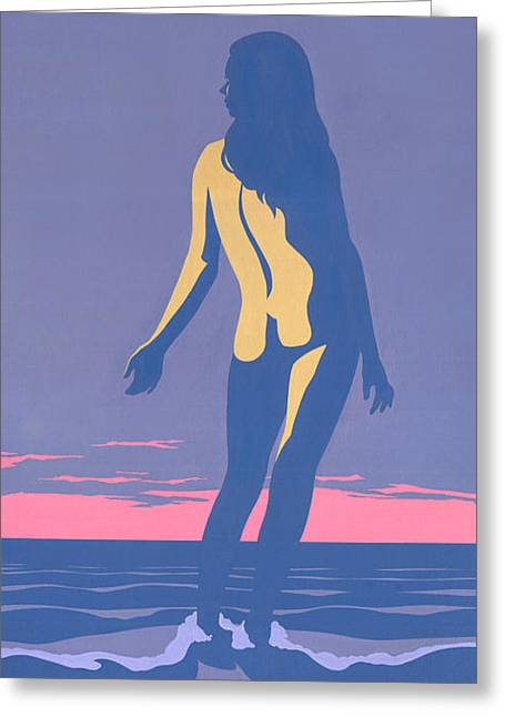 Tropical Exotic Nude Surf Sunset Tasteful Original Pop Art Nouveau 80s Painting Purple Pink Greeting Card by Walt Curlee