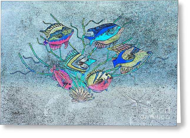 Metal Art Greeting Cards - Tropical Fish 1 Greeting Card by Betty LaRue