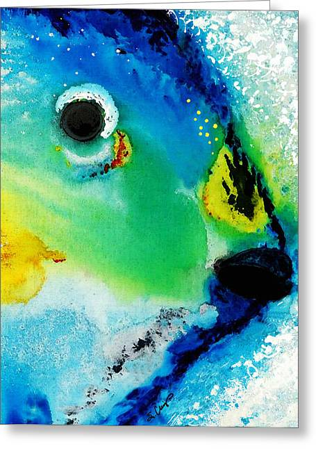 Miami Mixed Media Greeting Cards - Tropical Fish 2 - Abstract Art By Sharon Cummings Greeting Card by Sharon Cummings