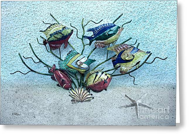 Metal Art Greeting Cards - Tropical Fish 3 Greeting Card by Betty LaRue