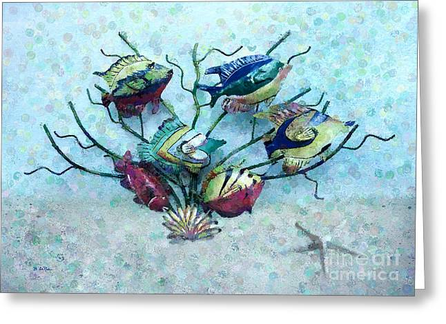 Metal Art Greeting Cards - Tropical Fish 4 Greeting Card by Betty LaRue