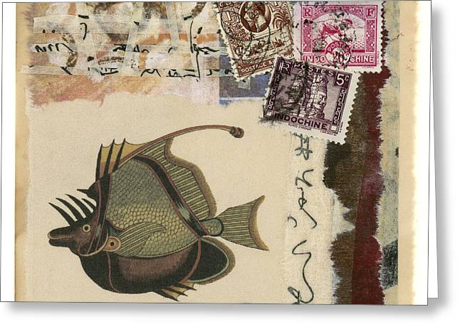 Tears Greeting Cards - Tropical Fish Collage Greeting Card by Carol Leigh