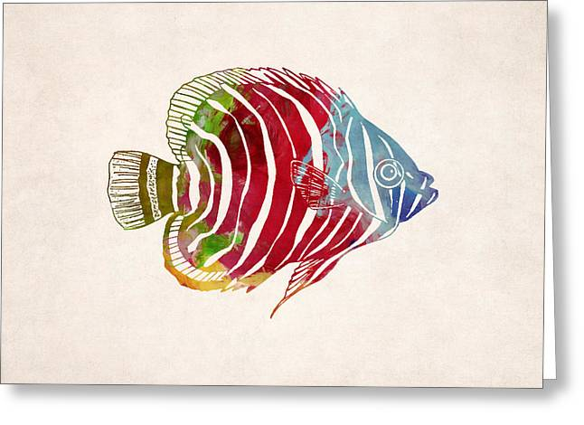 Sea Life Digital Art Greeting Cards - Tropical Fish Drawing Greeting Card by World Art Prints And Designs