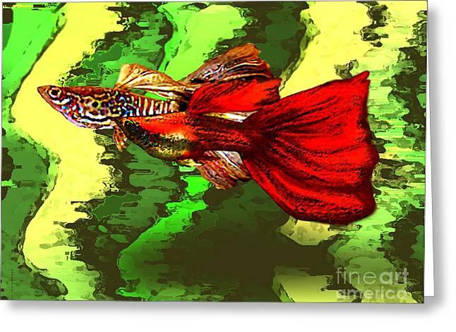 Tropical Fish In Digital Art Greeting Card by Mario Perez