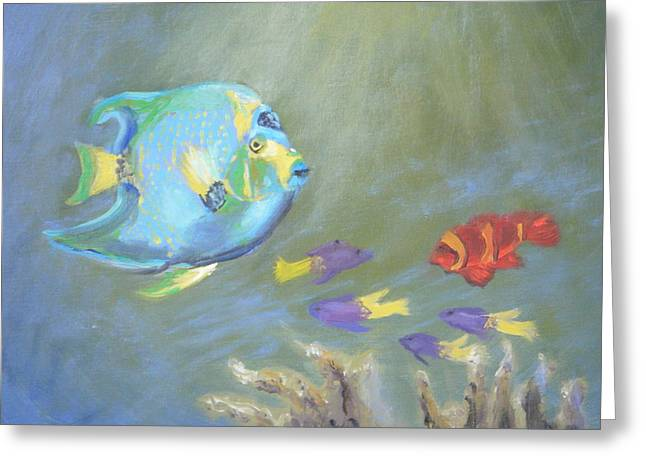League Paintings Greeting Cards - Tropical Fish Greeting Card by Patricia Kimsey Bollinger