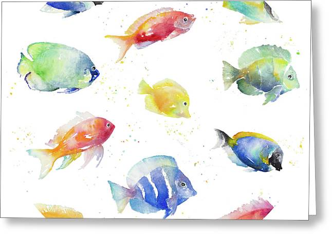 Tropical Fish Round Greeting Card by Lanie Loreth