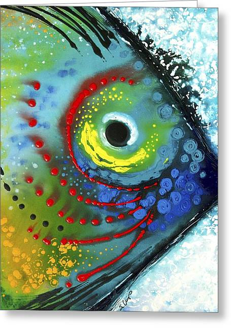 Modern Abstract Paintings Greeting Cards - Tropical Fish Greeting Card by Sharon Cummings
