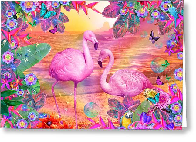 Seaside Digital Art Greeting Cards - Tropical Flamingo Greeting Card by Alixandra Mullins