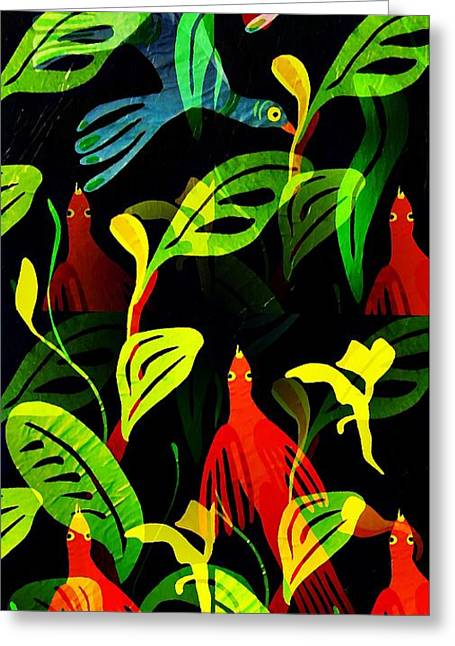 Sarah Loft Greeting Cards - Tropical Flock Greeting Card by Sarah Loft