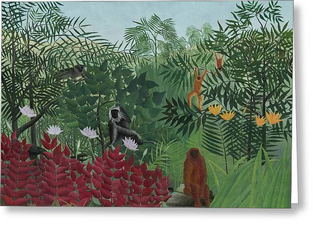 Jungle Animals Greeting Cards - Tropical Forest with Monkeys Greeting Card by Henri J F Rousseau
