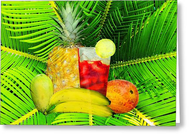 Mango Greeting Cards - Tropical Fruit And Iced Drink Greeting Card by Suzanne Powers