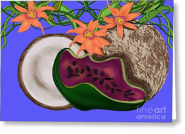Passion Fruit Greeting Cards - Tropical Fruit Greeting Card by Christine Fournier