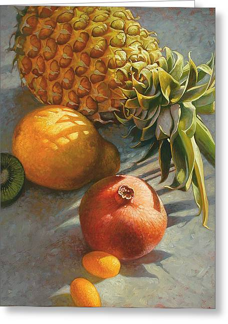 Tropical Fruit Greeting Cards - Tropical Fruit Greeting Card by Mia Tavonatti