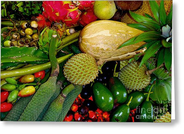 Tropical Fruit Greeting Cards - Tropical fruits Greeting Card by Carey Chen
