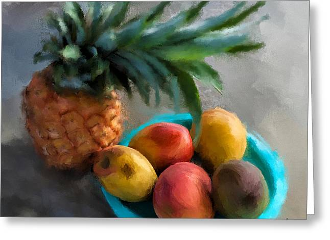 Mango Digital Greeting Cards - Tropical Fruits Greeting Card by Charlie Roman