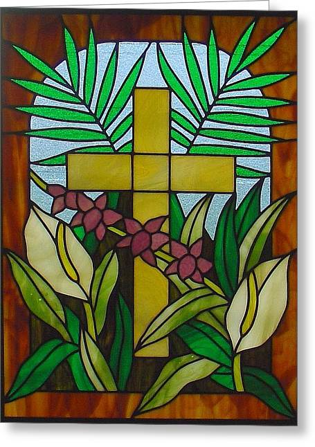 Tropical Stain Glass Glass Art Greeting Cards - Tropical Garden Cross  Greeting Card by DK Nagano