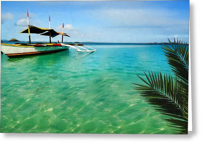Tropical Getaway Greeting Card by Lourry Legarde